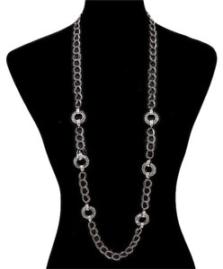 Other Crystal Accent Retro Chic Long Hoop Chain Necklace