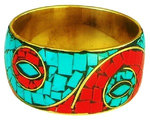 Other Handmade Red Coral and Turquoise Inlay Brass Bangle Bracelet