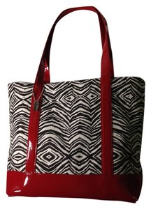 Eliza B Patent Leather Canvas Zebra Tote in Red, black, and white