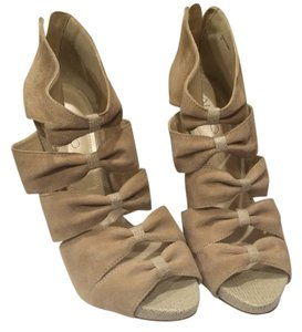 ALDO Open Toe Open Toe Bows Neutral Suede Pumps