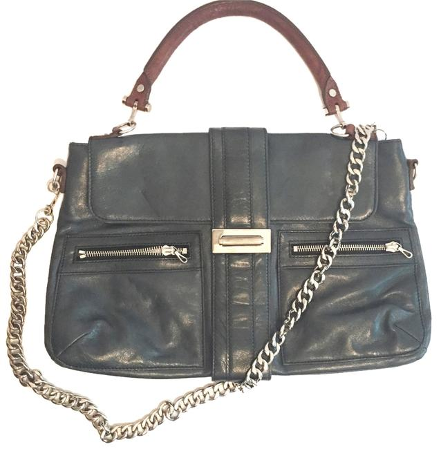 Lanvin Dark Teal with Tan Handle and Silver Hardware Leather Shoulder Bag Lanvin Dark Teal with Tan Handle and Silver Hardware Leather Shoulder Bag Image 1