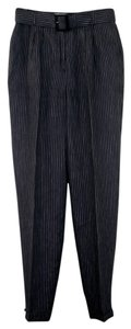 Max Mara 100% Linen Front Pleats Trouser Pants Dark Navy w/white pinstripe