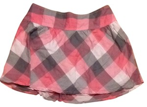 Aeropostale Plaid Skirt Pink, Grey, White