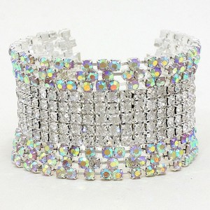 Bejeweled Sparkling Rhinestone Crystal Bridal Wedding Prom Evening Jewelry Cuff Bracelet