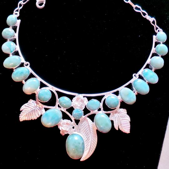 Other Handcrafted Genuine Larimar 925 Sterling Silver Rose Statement Necklace