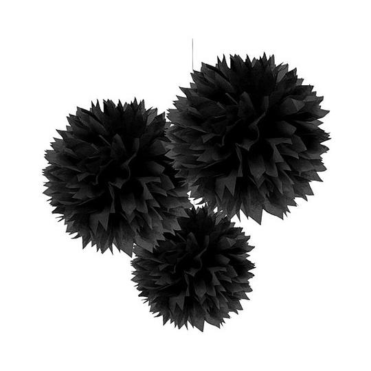 "30pcs - 4"" 8"" 12"" Mixed 3-sizes Black Tissue Paper Pom-poms Pompom Flower Wedding Party Home Indoor Outdoor Hanging"