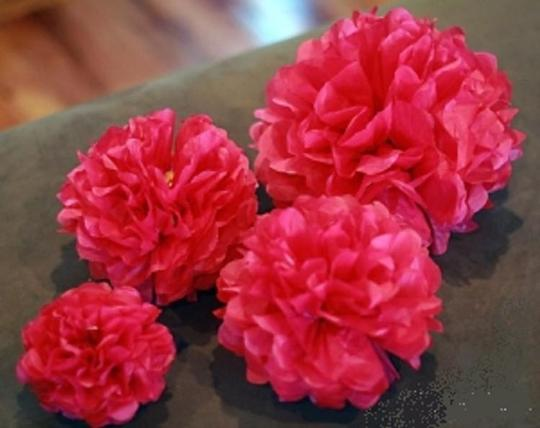 """Fuchsia 30pcs - 4"""" 8"""" 12"""" Mixed 3-sizes Tissue Paper Pom-poms Pompom Flower Party Home Indoor Outdoor Hanging Other"""