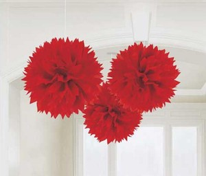"Red 30pcs - 4"" 8"" 12"" Mixed 3-sizes Tissue Paper Pom-poms Pompom Flower Party Home Indoor Outdoor Hanging Other"