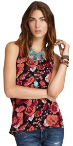 Free People Racer-back Twist Back Scoop Neck Floral Violet Red Rose Top Floral Print