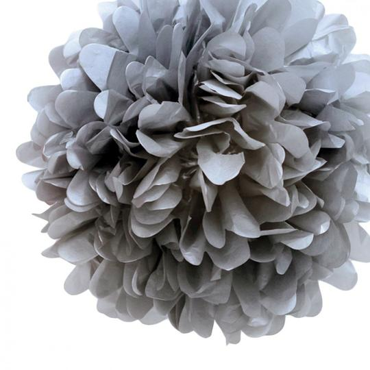"30pcs - 4"" 8"" 12"" Mixed 3-sizes Gray Tissue Paper Pom-poms Pompom Flower Wedding Party Home Indoor Outdoor Hanging"