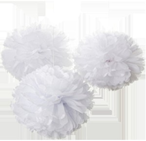 "White 30pcs - 4"" 8"" 12"" Mixed 3-sizes Tissue Paper Pom-poms Pompom Flower Party Home Indoor Outdoor Hanging Other"
