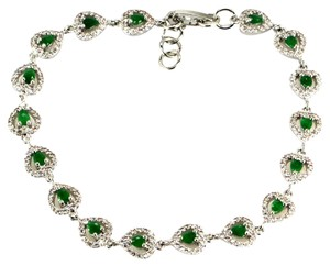 Natural Emeralds and White CZ Valentine Hearts 925 Sterling Silver Tennis Bracelet