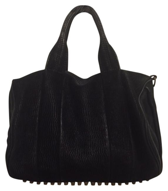Item - Rocco Duffel Satchel Black with Gold Hardware Lasered Leather Hobo Bag