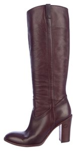 Gucci Knee Leather Brown Boots