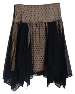 Lux Skirt Black Sheer w Tan lining