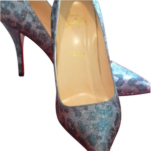 Christian Louboutin Batignolle Limited Edition Louboutins Pigalle 100mm Red Bottoms Size 40 Iridescent Pumps