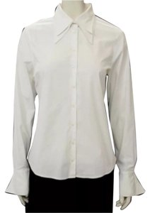 Anne Fontaine Business Career Work Suit Conservative Layered Collar Cuffs Professional Corporate Funky Button Down Shirt White