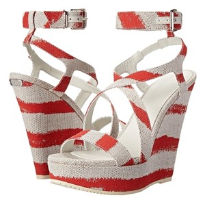 Burberry Farrah Coral Wedge Resort Red Sandals