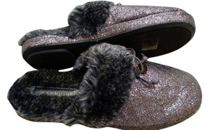 Michael Kors Gunmetal Slippers Glitter Carter Gray Flats