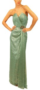 David Meister Silver Blue Green Evening Gown Formal Gown Metallic Strapless Dress