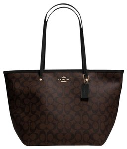 Coach Canvas Leather Tote in Brown/Black