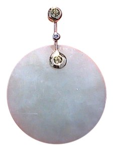 Other 10k Yellow Gold Peridot & Diamond Jade DIsk Pendant