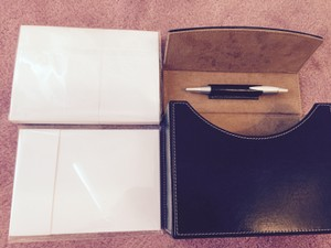 Brown Correspondence Set With Stationery And Pen Holder