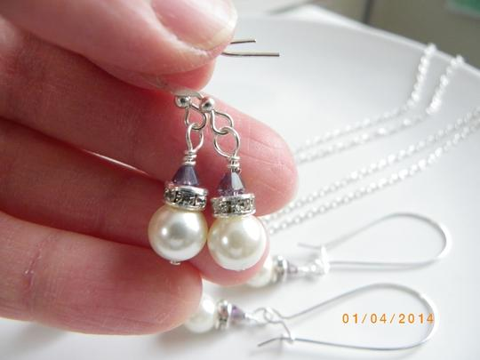 Other set of 7 bridesmaid set necklace and earrings , set of 7 ivory pearl earrings, bridal jewelry, rhinestone,