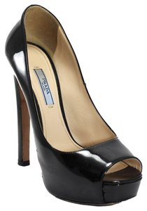 Prada Patent Leather Peep Toe Black Pumps