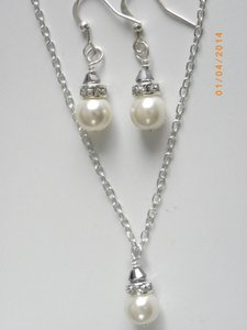 Other Bridesmaid Set Necklace And Earrings Ivory Pearl Earrings Bridal Jewelry Rhinestone