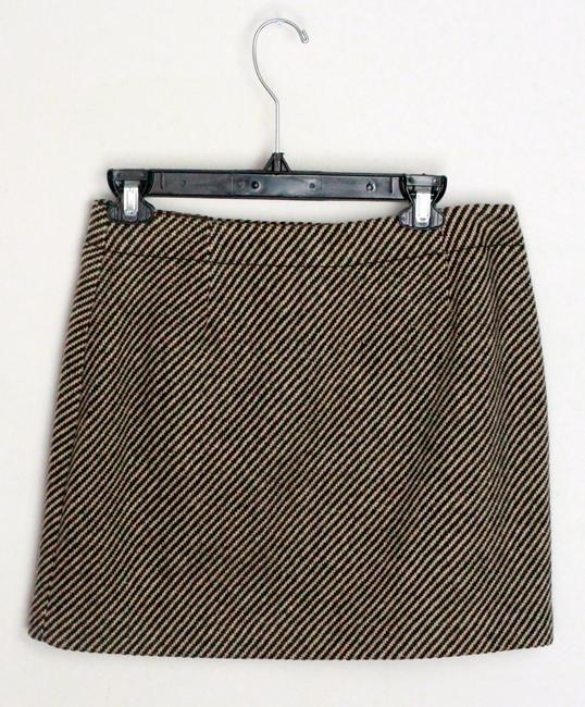 J.Crew Mini Skirt Brown & Tan Wool Stripe