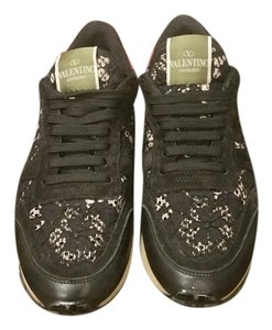 Valentino Black and pink lace sneakers Athletic
