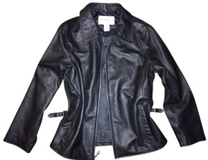 Eddie Bauer Leather Designer Zip Up Motorcycle Jacket