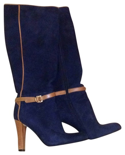 Ivanka Trump Knee High Suede Suede Casual Street Wear Sexy blue Boots