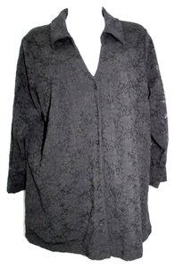 Avenue Stretch Lace Black Plus Size Button Down Shirt