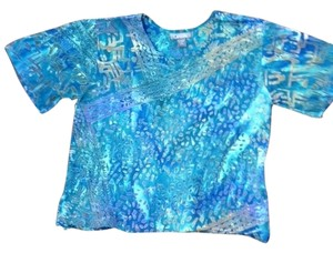 Other Endless Options Batik Print Top blue-green