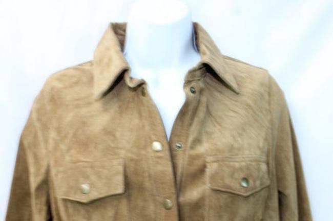 INC International Concepts Suede Leather Blouse Button Down Shirt