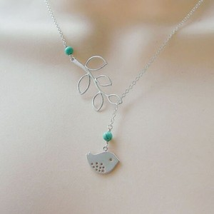 Dainty Silver Bird leaves Lariat necklace with turquoise beads