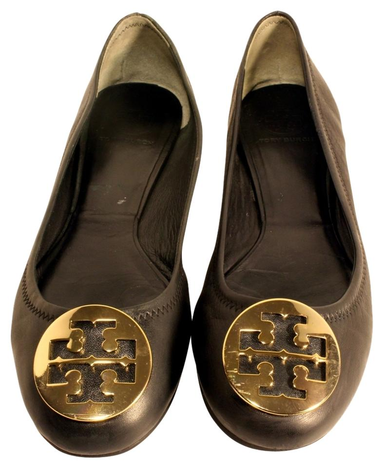 Tory Burch Black Logo Reva Soft Leather Big Gold Logo Black Ballet Flats 38694d