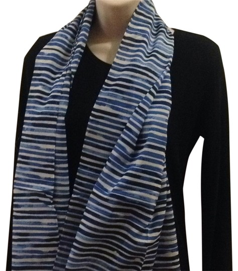 Tory Burch Watercolor Blue Oblong Scarf