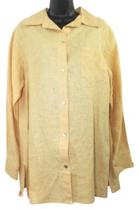 Ashley Stewart Linen Blouse Button Down Shirt
