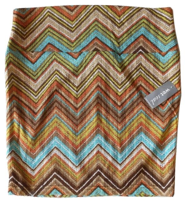 Wet Seal Earth Tones Zig Zag Print Textured Wide Waistband Mini Skirt Brown, Turquoise Blue, Orange, Yellow