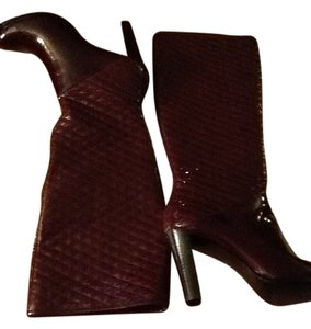Calvin Klein Patent Leather Boot Knee High Burgundy/Bordeaux Boots