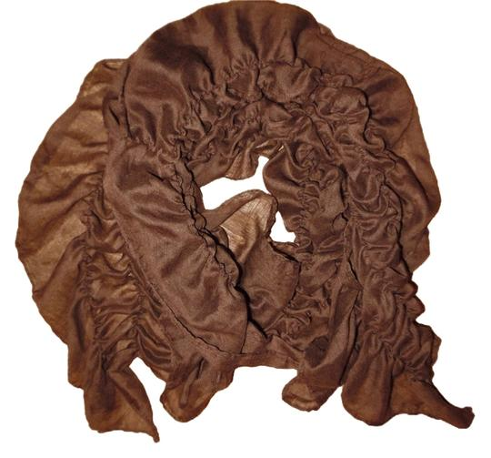 Other Dark Brown Stretchy Ruffled Slouchy Boho Scarf