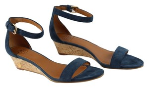 Tory Burch Savannah 45mm Soho Lux Suede Wedge Newport Navy Blue Sandals