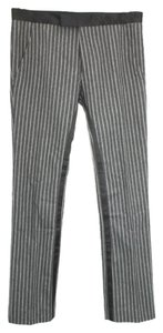 Dior Striped Satin Trim Wool Straight Pants DARK GRAY/BLACK