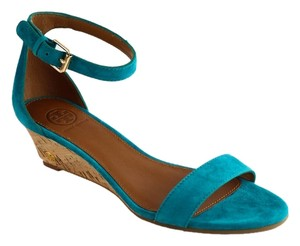 Tory Burch Savannah 45mm Soho Lux Suede Wedge Aquarius Blue Sandals