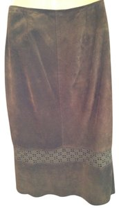 Banana Republic Suede Fitted Skirt Brown