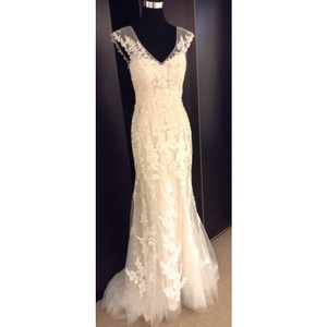 Maggie Sottero Ivory/Lt Gold Lace Lucinda - 4mt036 Only (No Belt) Formal Wedding Dress Size 6 (S)
