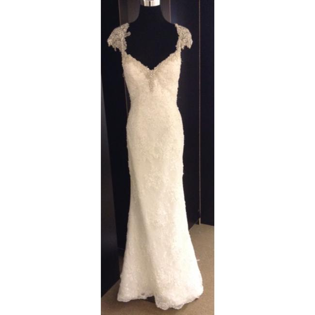 Maggie Sottero Ivory Lace Formal Wedding Dress Size 6 (S) Maggie Sottero Ivory Lace Formal Wedding Dress Size 6 (S) Image 1